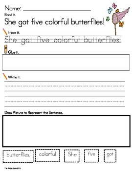 INSECTS & BUTTERFLIES LITERACY SENTENCE BUILDING ...READ.T