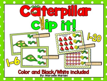 INSECTS- Caterpillar, Count & Pin Math Center Game- Color