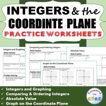 INTEGERS & COORDINATE PLANE Homework Worksheets: Skills Pr