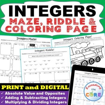 INTEGERS Maze, Riddle & Coloring Page (Fun Activities)