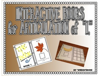 """SPEECH THERAPY INTERACTIVE BOOKS for ARTICULATION of """"L"""""""