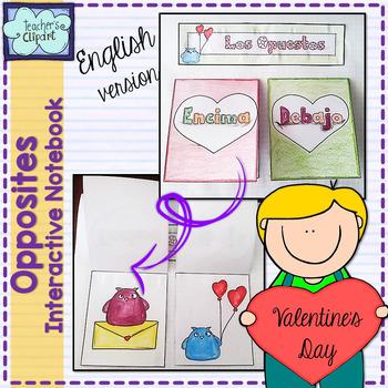 INTERACTIVE NOTEBOOK: Valentine's Day Opposites {ENGLISH}