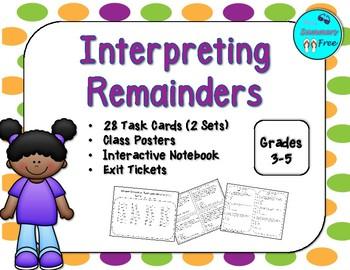 INTERPRETING REMAINDERS TASK CARDS (2 SETS)
