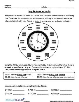 INTRO TO 24 HOUR CLOCK (SPANISH 2017 EDITION)