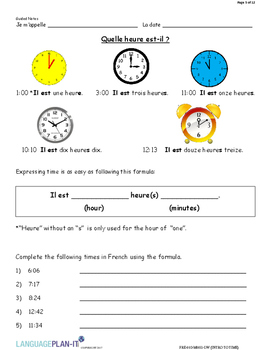 INTRO TO TIME (FRENCH 2017 EDITION)