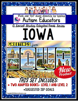 IOWA State Symbols ADAPTED BOOK for Special Education and Autism