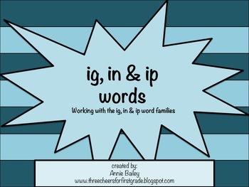 IP, IG, & IN Word Study Sort With Activities