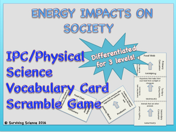 IPC/ Physical Science Vocabulary Scramble Game: Energy Imp
