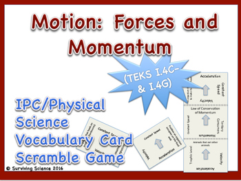 IPC/ Physical Science Vocabulary Scramble Game: Motion: Fo