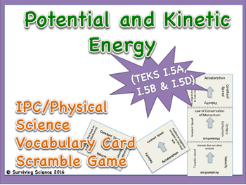IPC/ Physical Science Vocabulary Scramble Game: Potential
