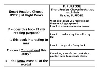 IPICK Just Right Books Practice
