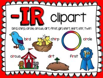 IR R-Controlled Vowel Clipart by Teacher Laura