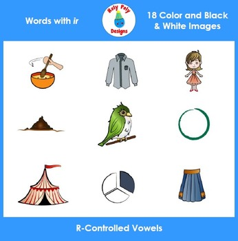 IR R-Controlled Vowels Phonics Clip Art Set by Roly Poly Designs