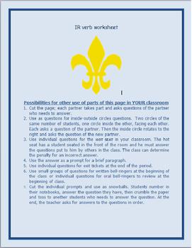 IR Verbs Worksheet FRENCH