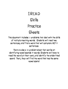 IREAD: Multiple Meaning Words and Vowel Sounds