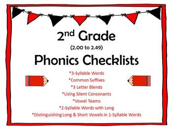 2nd Grade 2.00-2.49 Phonics Checklists (Aligned with Ameri