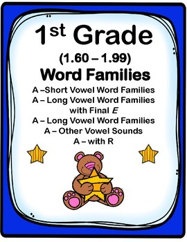 1st Grade 1.60-1.99 A-Word Families Cards (Aligned to Amer