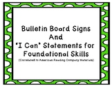 "IRLA GREEN Level ""I Can"" Statements for Foundational Skills"