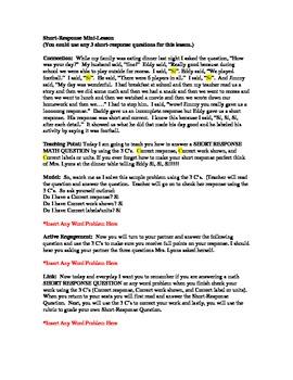 ISAT Math Short Response Mini-Lesson