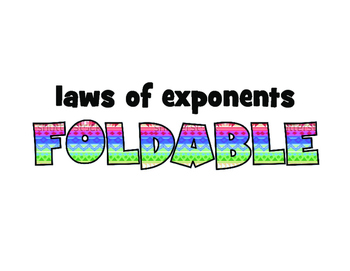 ISN foldable & PowerPoint instructions: LAWS OF EXPONENTS