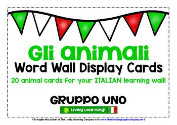 ITALIAN ANIMALS (1) - CLASSROOM DECOR - 20 WORD WALL DISPL