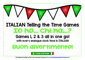 ITALIAN TELLING THE TIME 3 GAMES BUNDLE - I HAVE, WHO HAS?