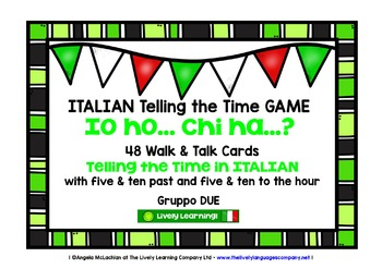 ITALIAN TELLING THE TIME GAME (2) - I HAVE, WHO HAS?