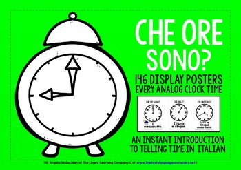 ITALIAN TELLING THE TIME POSTER PACK - EVERY ANALOG CLOCK