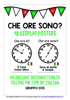 ITALIAN TELLING TIME (2) 48 POSTERS PACK - 5/10 PAST & 5/1