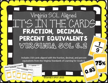 IT'S IN THE CARDS 150 Fraction, Decimal, Percent Cards Vir