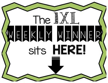 IXL Math Weekly Winner Award Poster