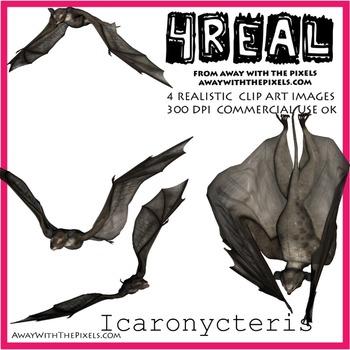 Icaronycteris - 4 Realistic Dinosaur Clip Art Images