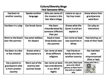 Ice Breaker Cultural Diversity Bingo