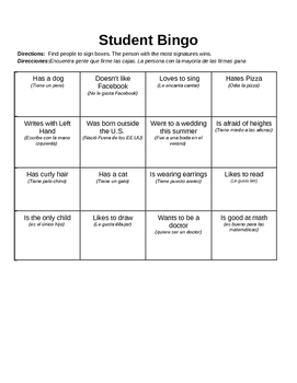 Ice Breaker- Student Bingo in English and Spanish