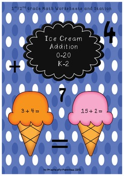 Ice Cream Addition: Center and Worksheets