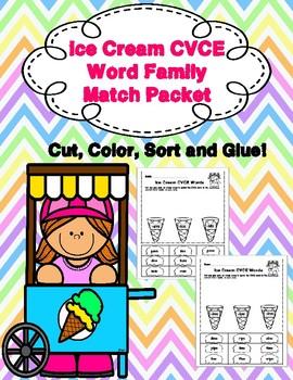 Ice Cream CVCE Word Family Match Packet