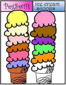 Ice Cream Clip Art ~ Retro Scoops
