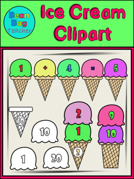 Ice Cream Clipart - Pile Up and Maths Fun - Commercial Use