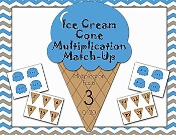 Ice Cream Cone Multiplication Match Game x3