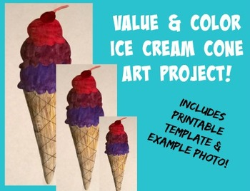Ice Cream Cone Value and Color Art Project Printable Templ