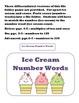 Ice Cream Number Words File Folder Game