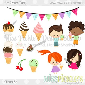 Ice Cream Party- Commercial Use Clipart Set