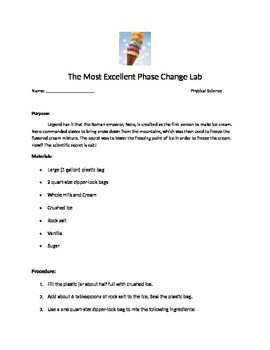 Ice Cream Phase Change Lab