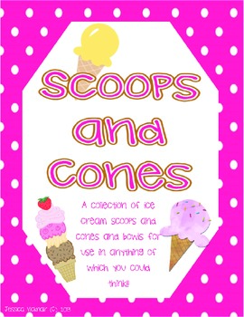 Ice Cream Scoops and Cones Template