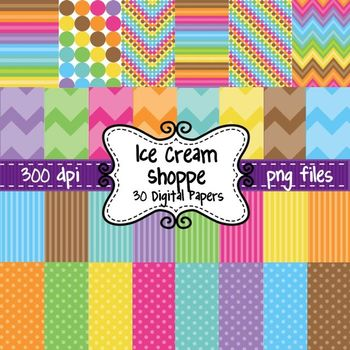 Ice Cream Shoppe Digital Background Papers in Chevron, Pol