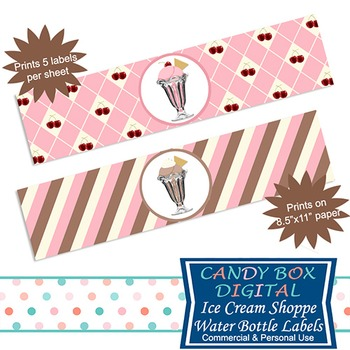 Ice Cream Shoppe Water Bottle Labels or Napkin Rings For Y