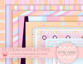 Ice Cream Stars & Stripes Digital Papers and Frames