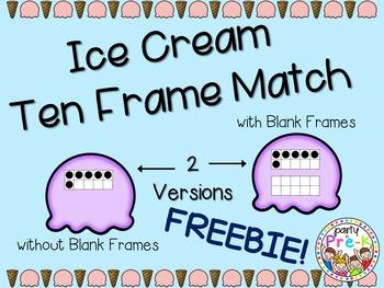 Ice Cream Ten Frame Match-FREEBIE