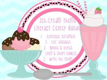 Ice Cream Theme Literacy Center Bundle