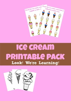 Ice Cream Themed Printable Pack
